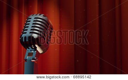 3d retro microphone on red curtain background, with magical particles in the air