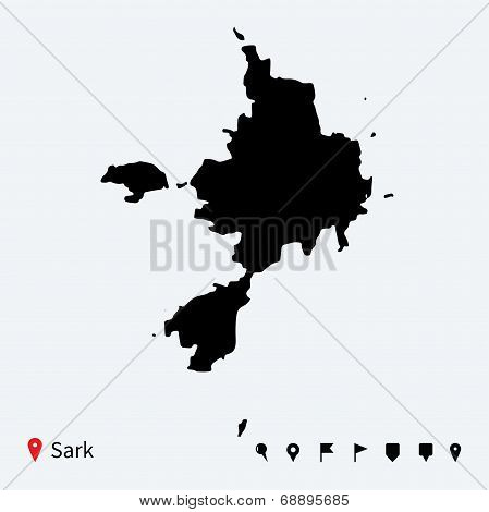 High detailed vector map of Sark with navigation pins.