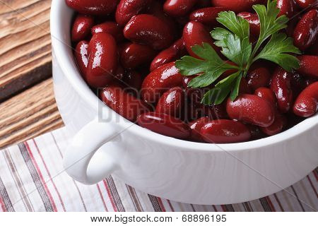 Cooked Red Kidney Beans In White Bowl Close-up Horizontal Top View