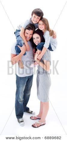 Cheerful Parents Giving Their Children Piggyback Ride