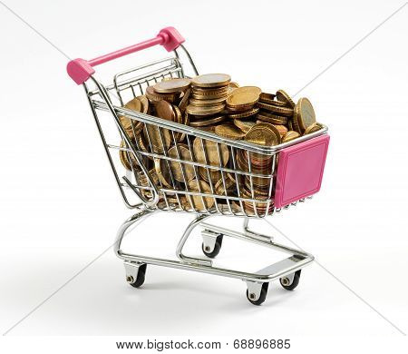 Shopping Cart Full Of Gold Coins