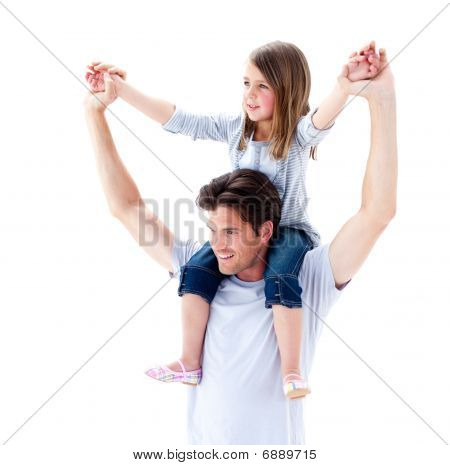 Charming Father Giving His Daughter Piggyback Ride