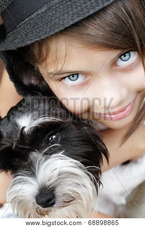 Beautiful Girl And Her Puppy