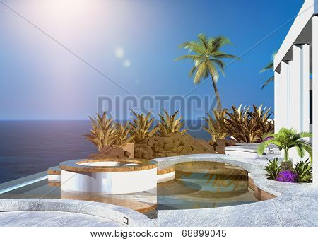 Modern tropical outdoor patio overlooking the sea with built in seating and palm trees under a hot summer sun in a clear blue sky