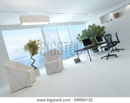 Modern waterfront office interior with a computer workstation and chairs in front of a large floor-to-ceiling glass window overlooking the sea and a large potted plant in the corner