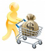 image of trolley  - Person with shopping cart or trolley with a large sack of money in it - JPG
