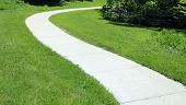 picture of curvy  - curvy cycling and running path on grass - JPG