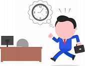 foto of faceless  - Vector cartoon late blue faceless businessman rushing to desk with computer monitor clock thought bubble on white - JPG