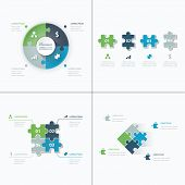 pic of puzzle  - Set of puzzle pieces jigsaw business infographics concept vector - JPG