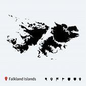 stock photo of falklands  - High detailed vector map of Falkland Islands with navigation pins - JPG