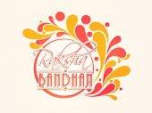 stock photo of rakshabandhan  - Beautiful sticky design decorated with red and yellow floral with stylish text Raksha Bandhan - JPG