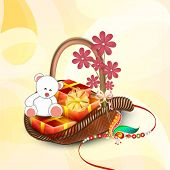 pic of rakhi  - Beautiful bouquet packed with teddy bear - JPG