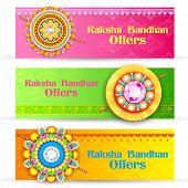 image of rakhi  - illustration of decorative rakhi for Raksha Bandhan banner - JPG