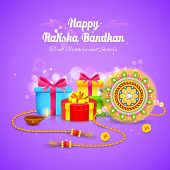 image of rakshabandhan  - illustration of Raksha Bandhan background with rakhi and gift - JPG