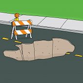 foto of barricade  - Reflective traffic barricade in front of large sinkhole - JPG