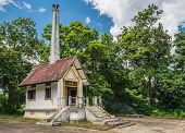 pic of crematory  - Cremations in Thai temple  with blue sky - JPG