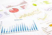 foto of budget  - colorful graphs charts marketing research and business annual report background management project budget planning financial and education concepts - JPG
