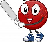 stock photo of cricket ball  - Mascot Illustration Featuring a Cricket Ball Holding a Cricket Bat - JPG