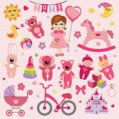 image of baby doll  - A set of cute toys icons for little Baby girl - JPG
