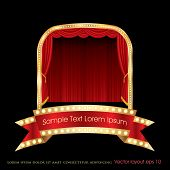 stock photo of curtains stage  - vector red bulb banner on stage with red curtain - JPG