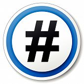 picture of hashtag  - Vector illustration of hashtag icon on white background - JPG