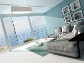 pic of aquamarine  - Luxury waterfront apartment living room with a floor - JPG