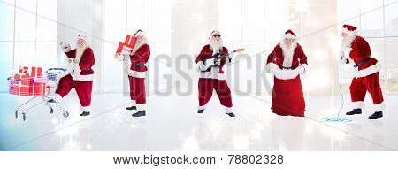 Composite image of different santas against twinkling lights over room with windows