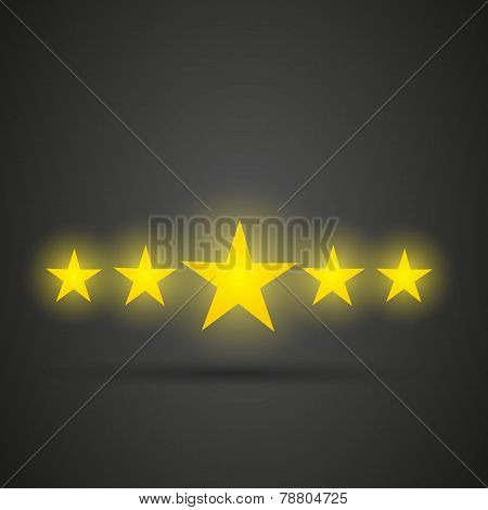 Five shiny golden stars