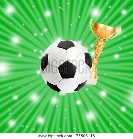 Football ball and golden trophy cup on bright green background, sports poster