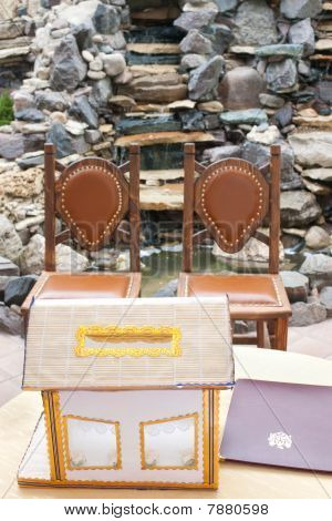 Wedding Money Box With Blurred Chairs