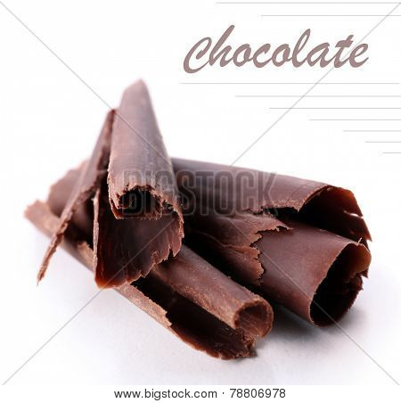 Chocolate curls isolated on white