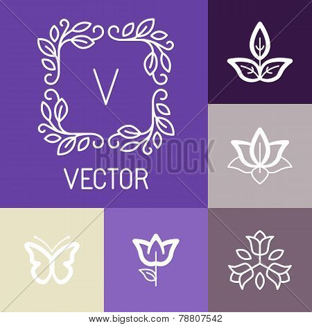Vector Floral Logos In Outline Style