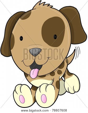 Cute Puppy Dog Vector Illustration Art