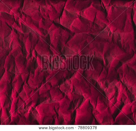 Crumpled red wrapping paper texture