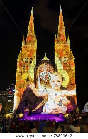 Christmas Light Display St Mary's Cathedral Sydney