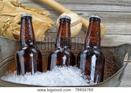 Ice Cold Bottle Beer And Baseball Stuff