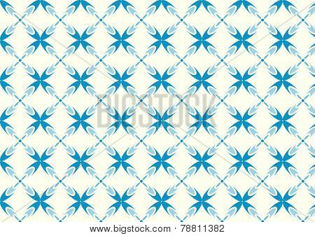 Blue Sweet Bloom In Abstract Shape Pattern On Pastel Background