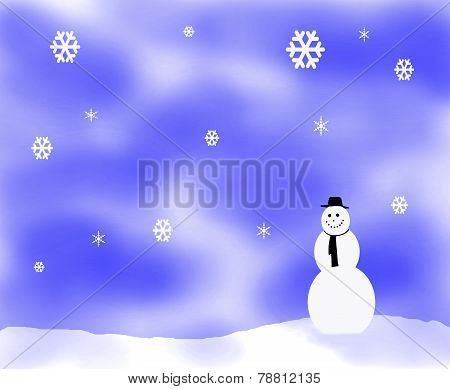 Snow Fkake Illustration With Snowman