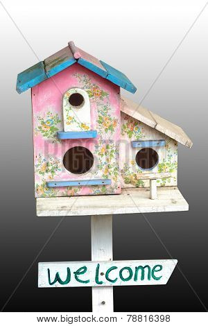 Colorful Wooden Bird House With Hole On White Background