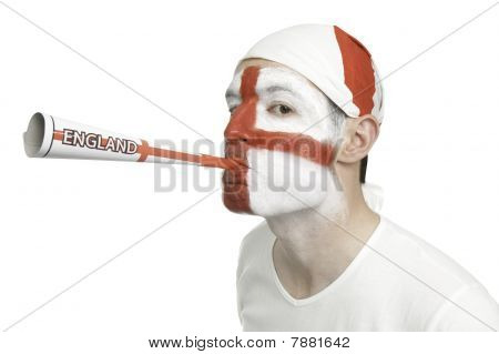 England Fan Blowing A Horn