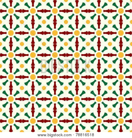 Red And Green Retro Bone And Circle Pattern On Pastel Color