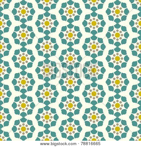 Dark Blue Retro And Modern Flower Pattern On Pastel Background