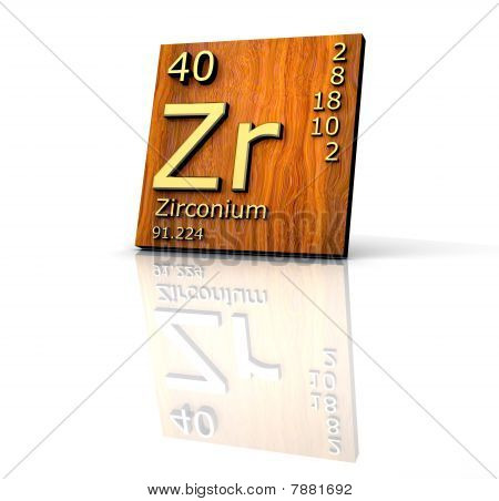 Zirconium Form Periodic Table Of Elements - Wood Board