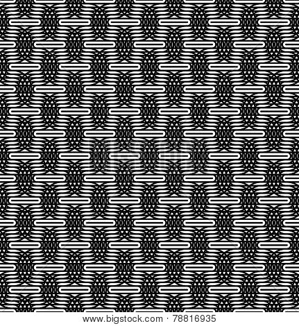 Black And White Seamless Pattern With Line And Oval Shape.