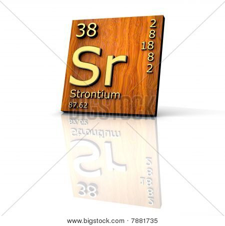 Strontium Form Periodic Table Of Elements - Wood Board