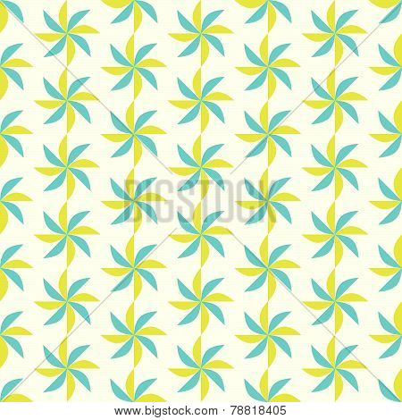 Blue And Yellow Turbine Seamless Pattern On Pastel Background