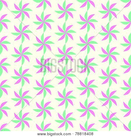Green And Red Turbine Seamless Pattern On Pastel Background