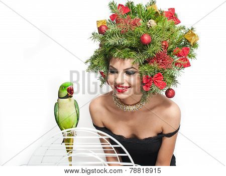Beautiful creative Xmas makeup and hair style indoor shot. Beauty Fashion Model Girl. Winter
