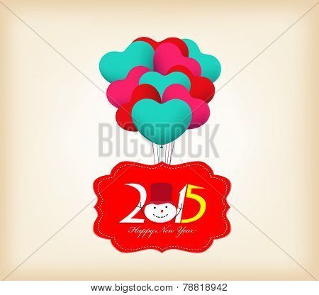 Happy New Year 2015 Greetings with balloons fly