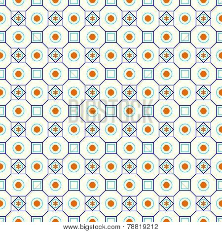Blue Retro Flower Circle And Square Seamless Pattern